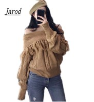 Jarod Brown Off Shoulder Knitted Sweater Women Autumn Elegant Batwing Sleeve Jumper Pull Femme Winter Casual