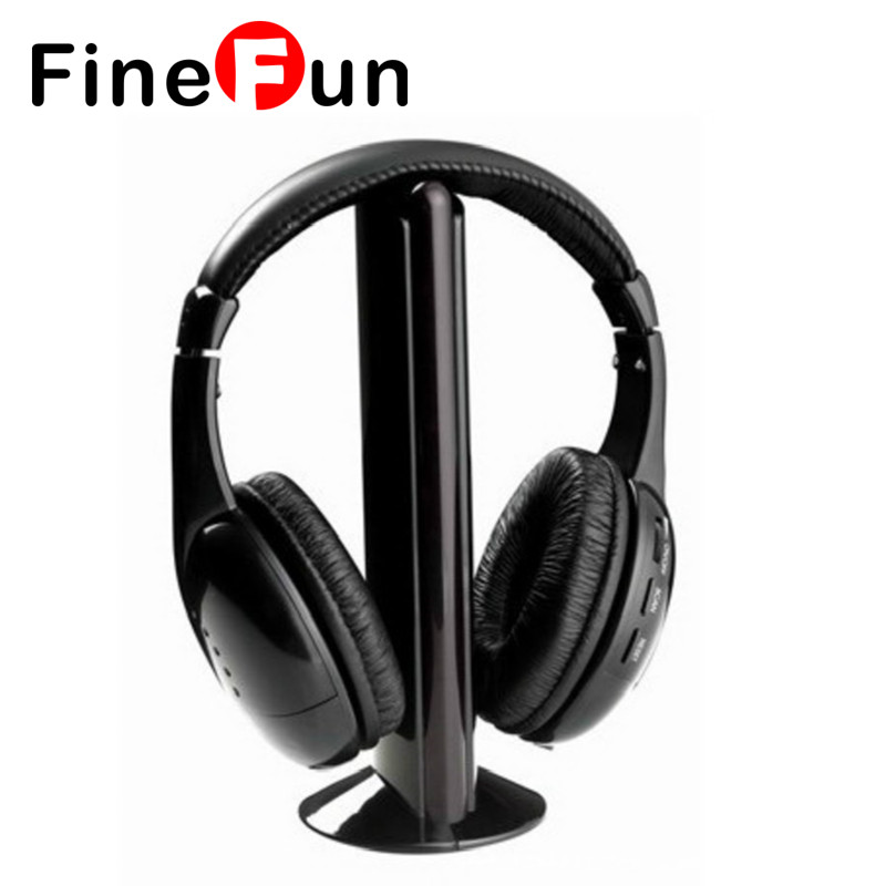 FineFun New High Quality 5 in1 Wireless Hi-Fi Headphone FM Radio Chatting Monitor Wired Noise Cancelling Headset for TV PC Mp3 2016 superior quality mosunx 5in1 wireless headphone casque audio sans fil ecouteur hi fi radio fm tv mp3 mp4 au19
