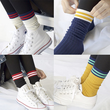New female socks han edition style stripe female students sox baseball socks Pure cotton their Parents and children socks