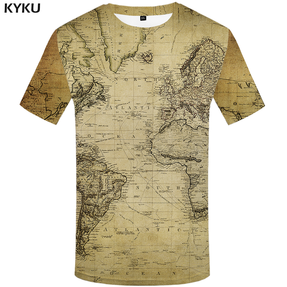 3d Tshirt World Map T-shirt Men Vintage Tshirts Casual Funny T-shirts 3d Geometric Tshirt Printed Shirt Print Mens Clothing