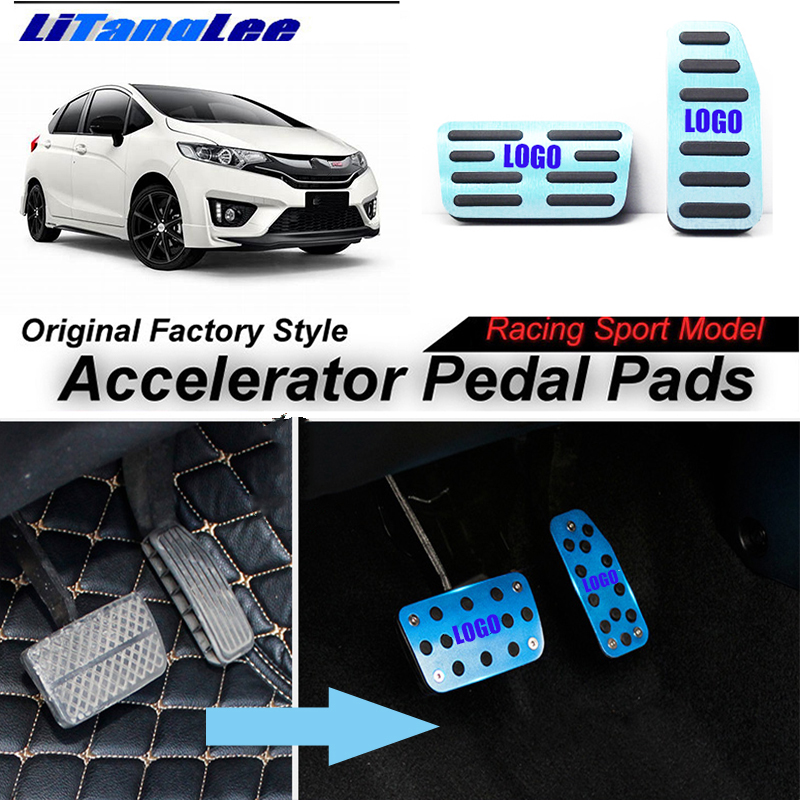 LitangLee Car Accelerator Pedal Pad Cover Foot Throttle Pedal Cover Sport Racing Model For HONDA Fit Jazz GK5 2014~2018 AT цена