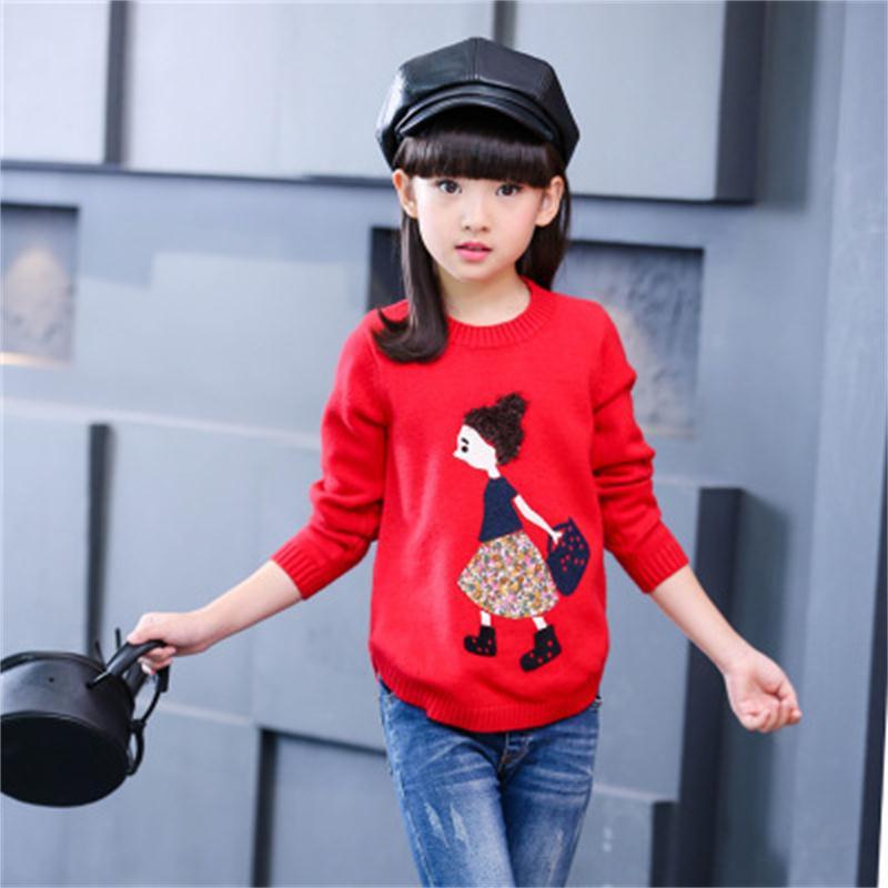 2018 Frühling Und Herbst Kleidung Mädchen Große Kinder Neue Trend Korean Fashion Casual Cartoon Rundhals-ärmeln Mädchen Pullover