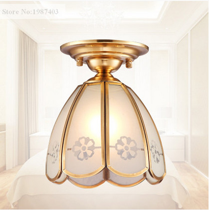 ФОТО European copper&frosted glass printing Ceiling lights Handwork soldering E27 LED lamp for porch&pavilion&stairs&bar BRSXDD006