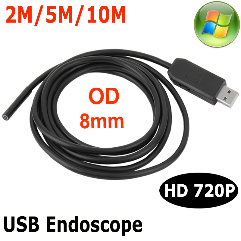8mm Lens Windows PC USB Endoscope Camera 10M 5M 2M IP67 Waterproof inspection Flexible Snake USB Tube Pipe Borescope Camera 6LED 7mm lens usb endoscop camera 2m 5m 7m 10m 6led hd720p ip67 waterproof snake 10m usb inspection portable endoscope camera