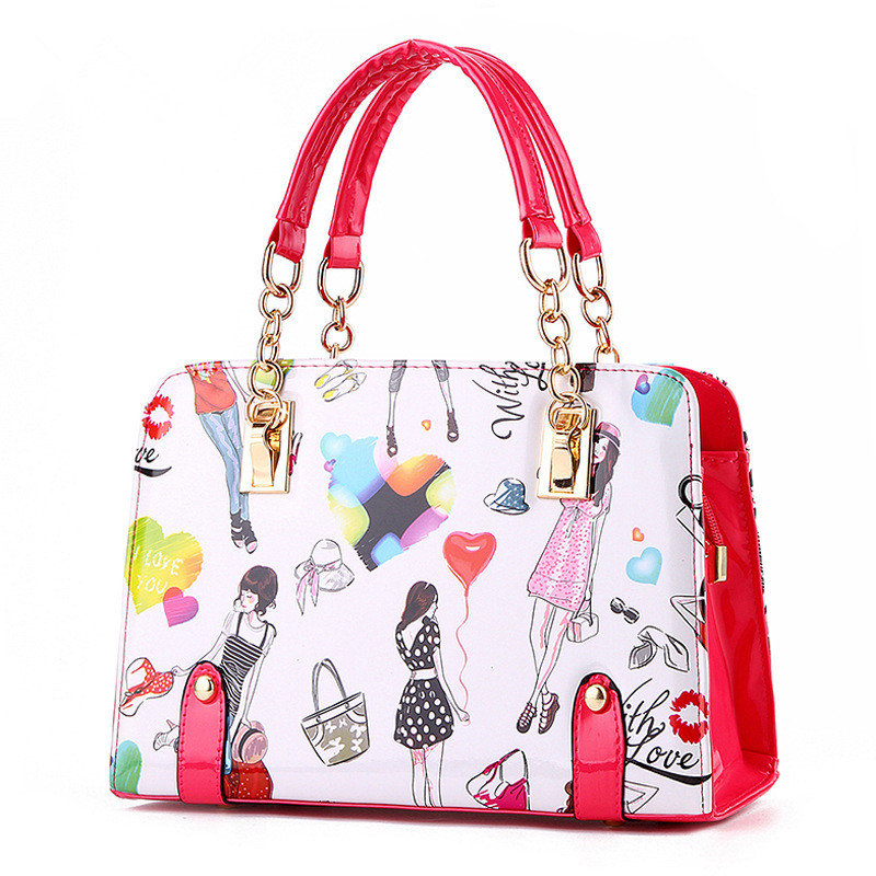 Elegant Fuchsia PU Women Handbag Shoulder Bag Fashion Shoulder Strap Reglable Crossbody Messenger Cartoon Pattern fashion pu wallet w shoulder strap hand strap brown