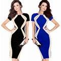 Mulheres dress elegante estilo europeu e americano o pescoço cor hit costura curto-sleeved dress magro ol mulheres dress vestido de noite partido