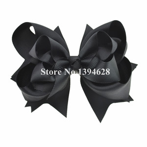$1/1 шт. 5-дюймовые трехслойные однотонные черные банты с заколками 6 см, эксклюзивные банты из ленты для девочек, аксессуары для волос