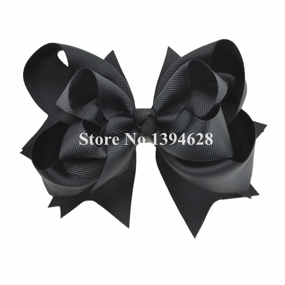 $1/1PCS 5 inches 3 Layers Solid Black Baby Bows With 6cm Clips Boutique Ribbon Bows For Girls Hair Accessories