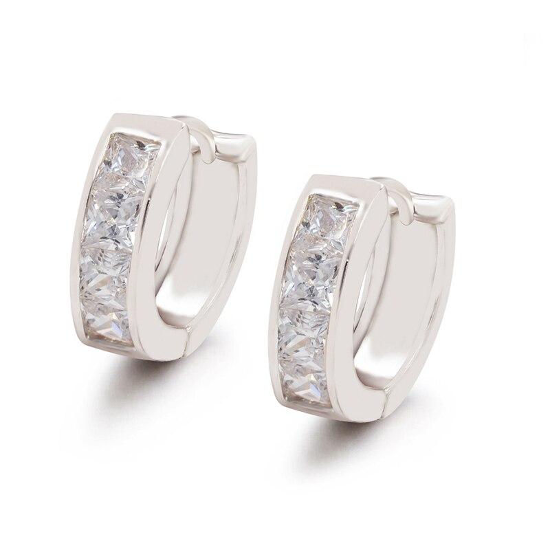 MxGxFam женские серьги-кольца квадратная AAA+ кубический циркон без свинца и никеля для аллергии белого золота - Окраска металла: Платиновое покрытие
