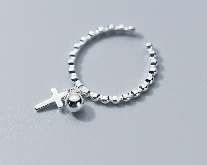 Punk 100% Authentic REAL.925 Sterling Silver Jewelry Cross &Lucky Round Bead Tassel Drop Rings OPEN Adjust GTLJ1544