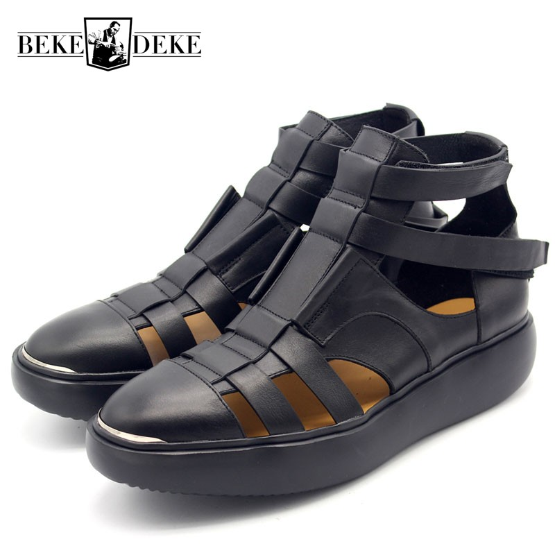 Runway Thick Platform High Top Men Sandals Round Toe Hollow Out Real Leather Gladiator Shoes Plus Size Male Casual Beach Sandals