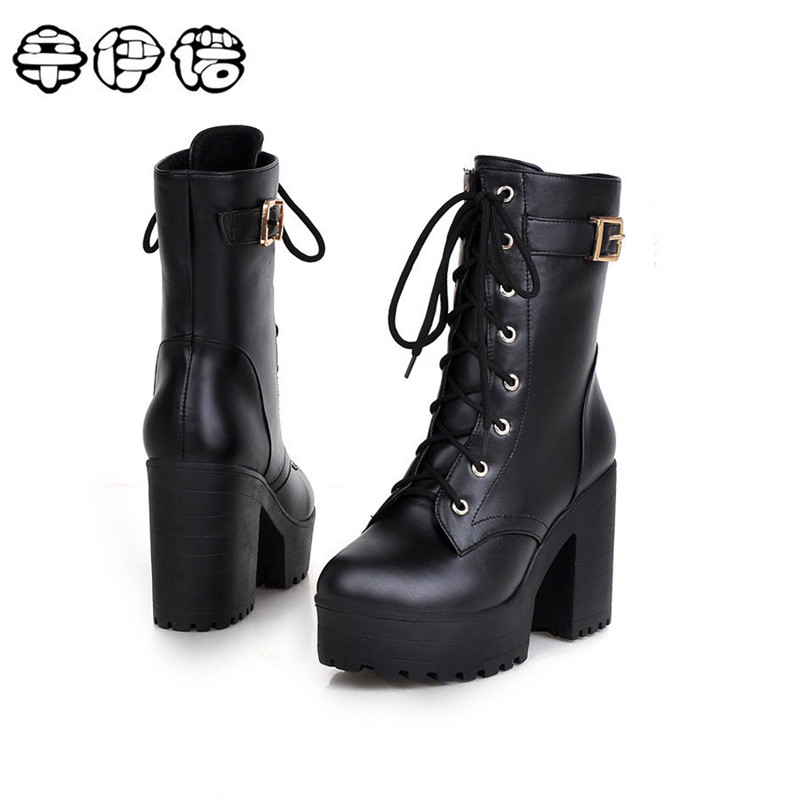 New Brand Fashion boots 2017 spring autumn buckle ladies shoes high heels boots round toe platform lace up ankle boots for woman round toe autumn shoes high heel platform black casual lace up 2017 front ankle boots booties patent leather female ladies new