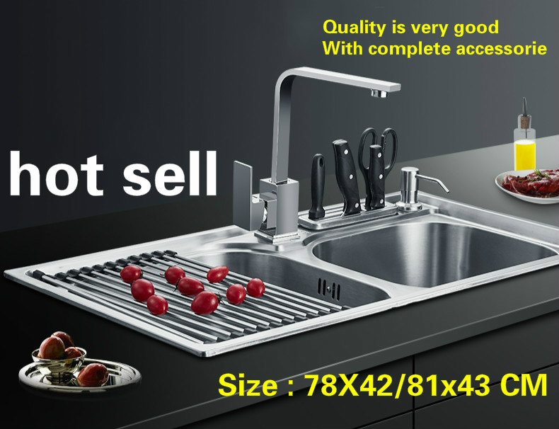 Free Shipping Household Standard Kitchen Double Groove Sink Do The Dishes Stainless Steel Hot Sell 780x420/810x430 MM