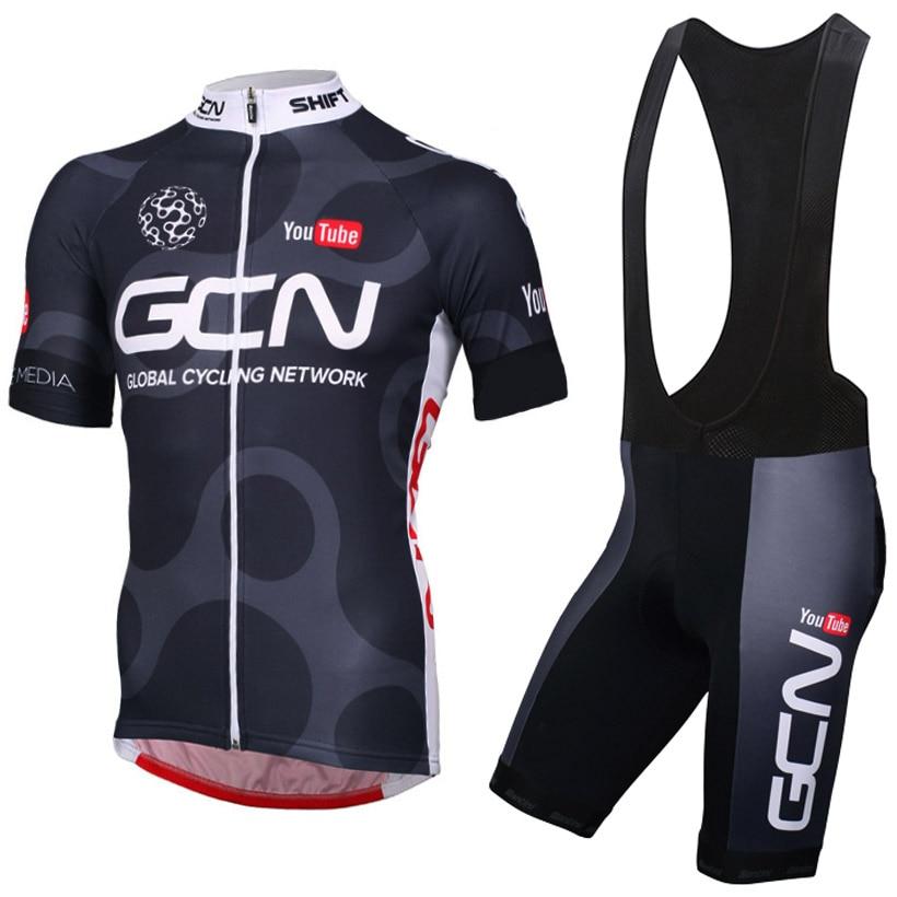 CUSROO new Men Short Sleeve Cycling Jersey Kits Men Bib Short Cycling Kits Ropa Ciclismo Clothing Sets Maillot Ciclismo balck