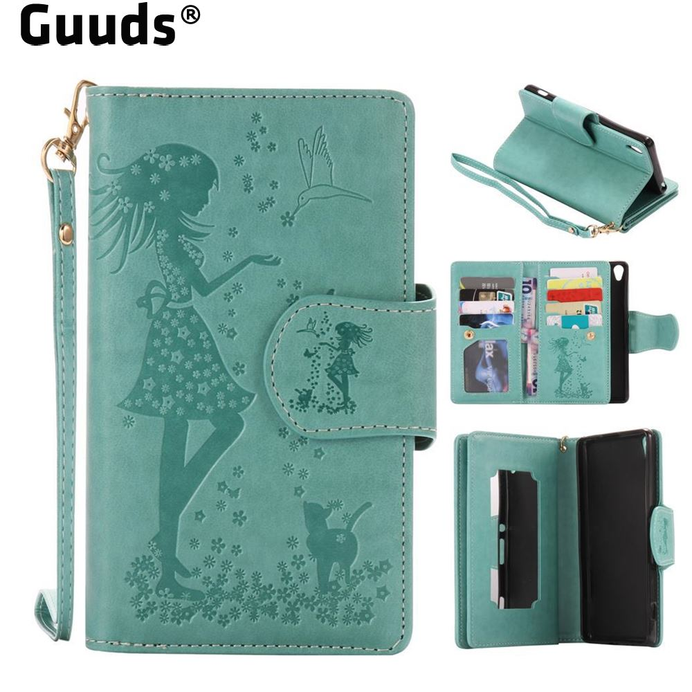 GUUDS for Sony Xperia XA XA Ultra C6 Cases Embossing Cat Girl 9 Card Leather Wallet Case for Sony Xperia XA Ultra FREE SHIPPING