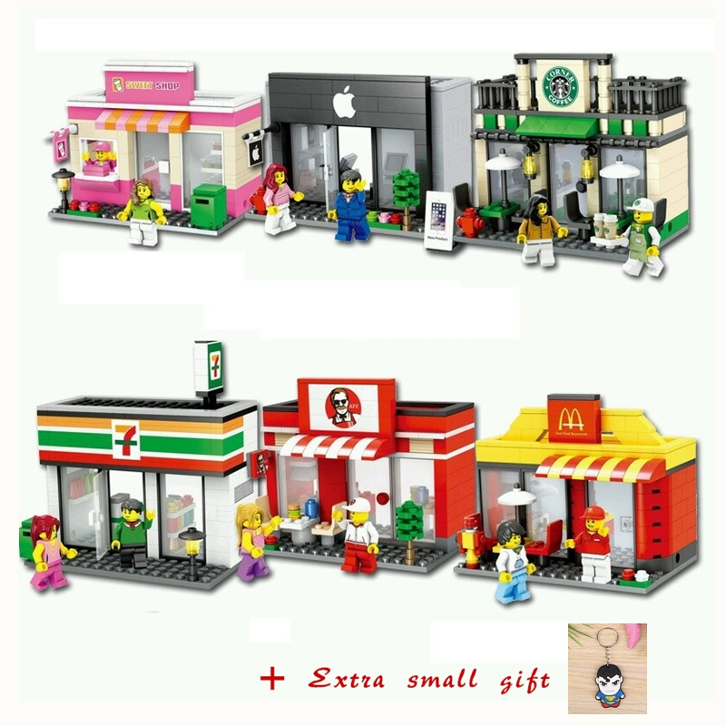 Mini City Street Blocks Building Street Blocks Sets Compatible With LegoING City Streets Scene Architecture Building Block Toys legoedly city architecture mini street scene view church library police fire station book store building blocks model sets toys