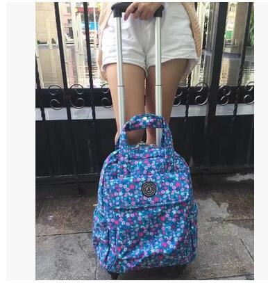 여자 여행 트롤리 가방 여자 여행 수하물 트롤리 배낭 가방 바퀴 옥스포드 롤링 바퀴 달린 가방 배낭 가방-에서여행 가방부터 수화물 & 가방 의  그룹 2