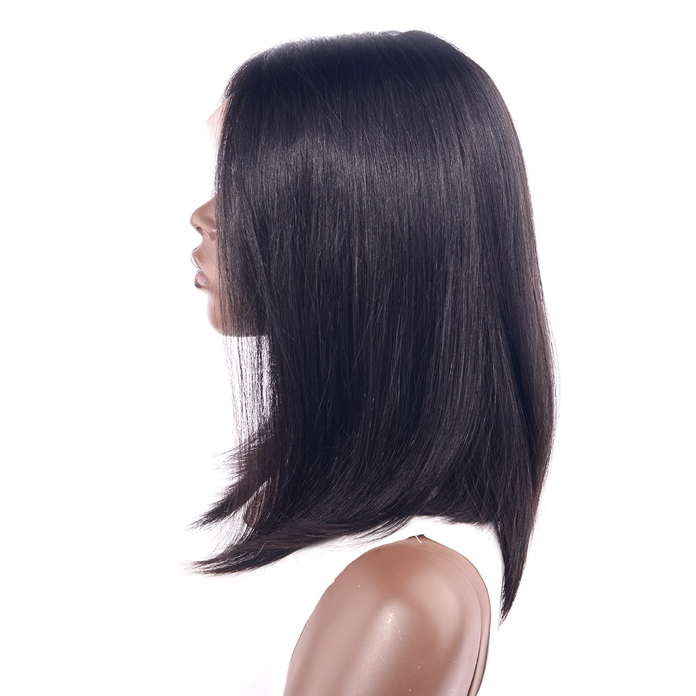 CHOCOLATE Short Bob Wigs Brazilian Remy Hair Straight Lace Front Human Hair Wigs For Women Natural Black Color