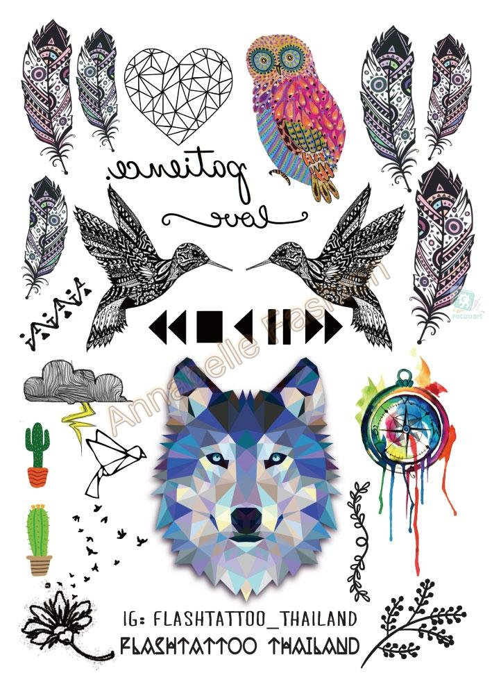 A6080-208 Big Black tatuagem Taty Body Art Temporary Tattoo Stickers Gradient Colorful Wolf Owl Birds Glitter Tatoo Sticker