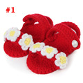 4 Colors for choice Cotton Crochet Knitting Slipper Shaped Baby shoes with flowers Girls First Walkers Newborn Photo Props
