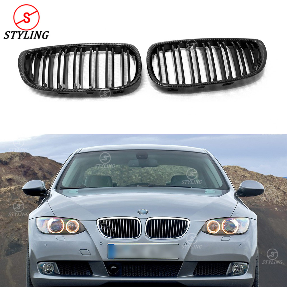 For BMW 3 Series E92 E93 Carbon Fiber Front Grille Gloss Black Finish E90 E92 E93 M3 Front Bumper Lip Grille Pre-Lci 2005 - 2008 car bight glossy black double slat front grille grill for bmw e92 lci facelift e93 2011 2012 2013 c 5