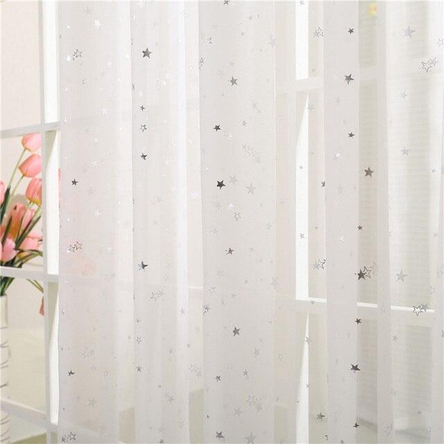 Luce Nastro Lucido Star Bianco Puro Tulle Tende Della Finestra Per Soggiorno camera Da Letto Moderna Lane e Filati per la Stanza Del Capretto Drappo
