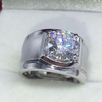 3 карат Matt роскошный мужской кольцо с бриллиантом предложение брак серебряное кольцо (lmys)