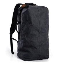 Edgy Trendy Casual Canvas Backpack Men Large Capacity Simple Backpack Fashion Hook Buckle Travel Bag Durable Rucksack trendy durable men backpack