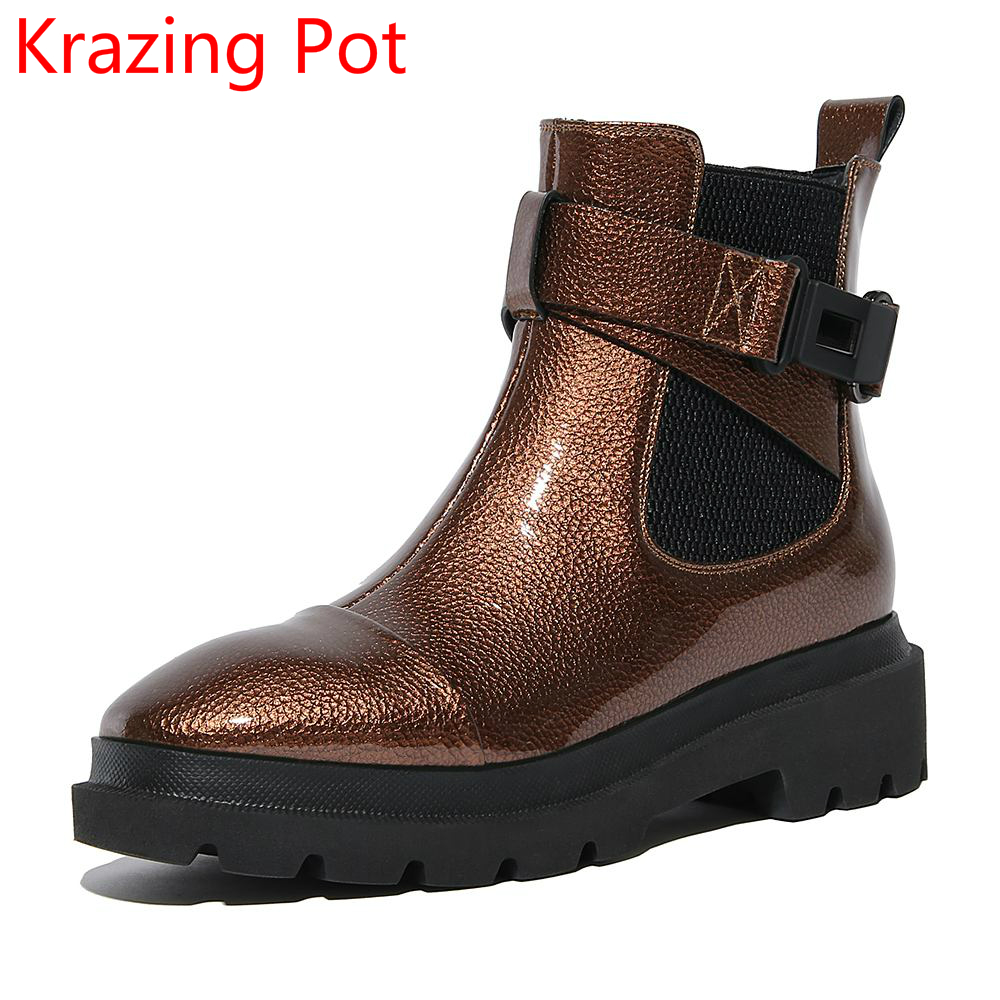 2018 New Arrival Microfiber Round Toe Buckle Solid Fashion Winter Boots Superstar Warm Thick Heel Handmade Women Ankle Boots L01 2018 fashion cow leather zipper superstar winter boots women round toe low heel solid concise pregnant chelsea ankle boots l08