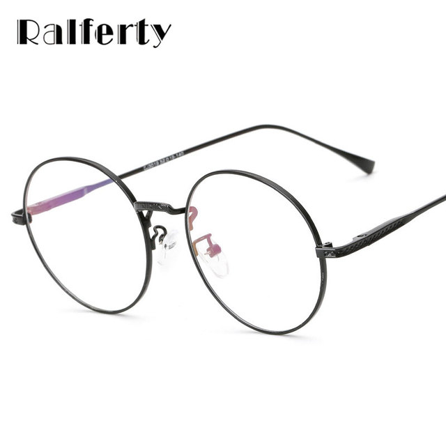 5e21ccac28 Ralferty Vintage Round Eyeglasses Frame With Clear Lens Women Men Computer  Goggles Gold Rims Metal Optic Frames Eyewear 3019