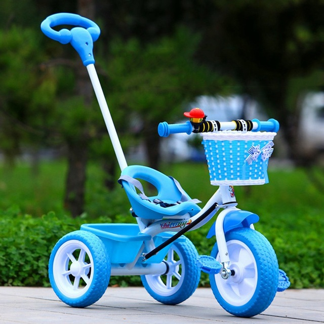 Venda quente Do Bebê Carrinho de criança Triciclo Trike Bicicleta de Segurança Ao Ar Livre Bonito Infantil Crianças Carrinho De Bicicleta Montar-No Brinquedo Portátil 3 cores