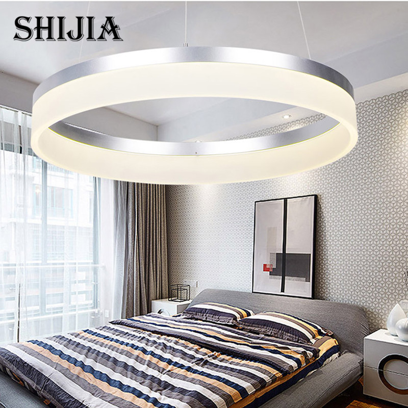 Postmodern minimalist LED chandeliers Nordic circular dining room bedroom creative personality round aluminum living room lamps creative cartoon baby cute led act the role ofing boy room bedroom chandeliers children room roof plane light absorption