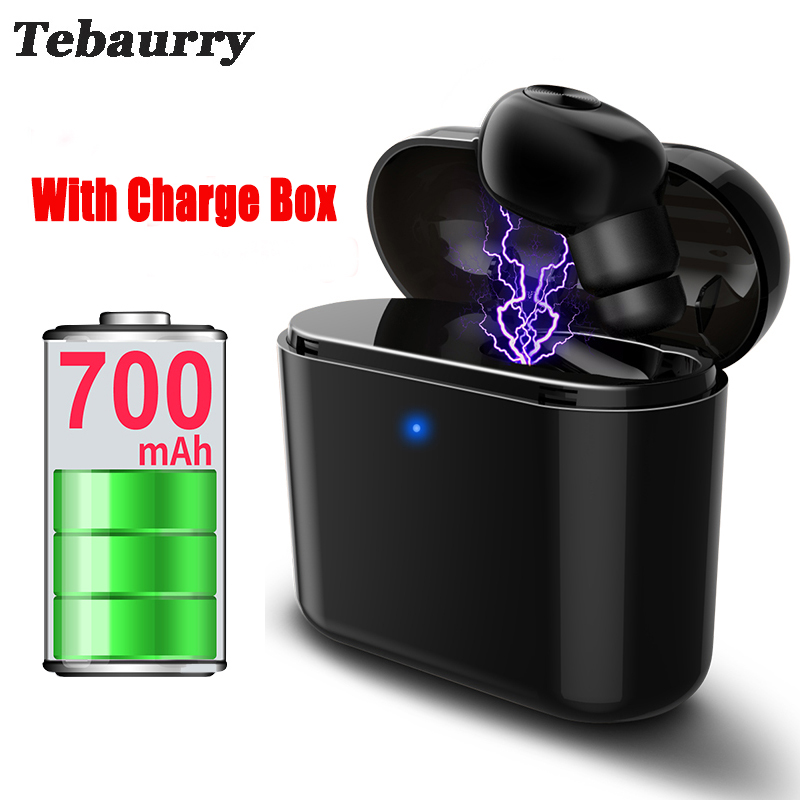 Tebaurry New Invisible Wireless Bluetooth Earphone Mini Bluetooth Headset Wireless for phone with 700 mAh Charging box Portable