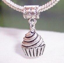200pcs Tibetan Silver Cupcake Dessert Food Cake Dangle Bead fits European Style Charm Bracelets 31.5 mm x 14 2 36813