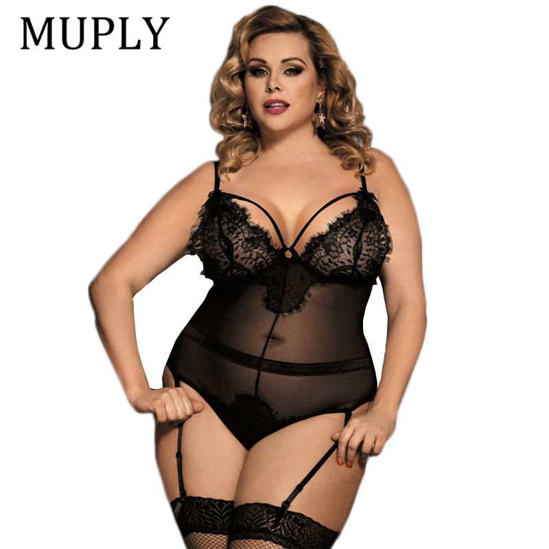 2018 Black See Through Sexy Lingerie Larg Size Women Nightwear Hot Sale Hollow Out Backless Lace Lingerie Erotica Set Nightwear