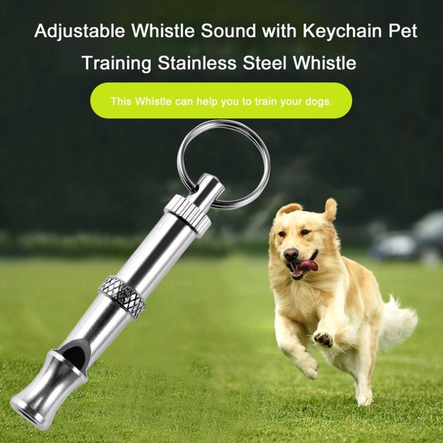 New 1Pc Hot Pet Dog Training Adjustable Whistle Sound Pet Products For Dog Puppy Dog Whistle Stainless Steel Whistle Key Chain