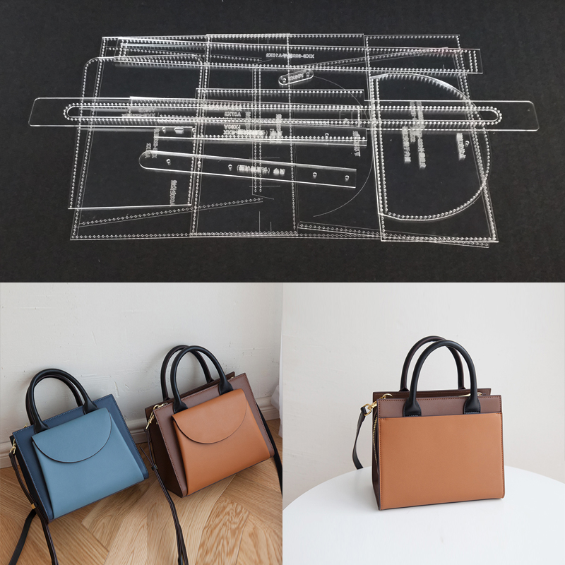 Clear Acrylic Leather Craft Pattern Stencil Template DIY for Handbag Shoulder Bag Making Sewing Pattern Leathercraft Tool Set