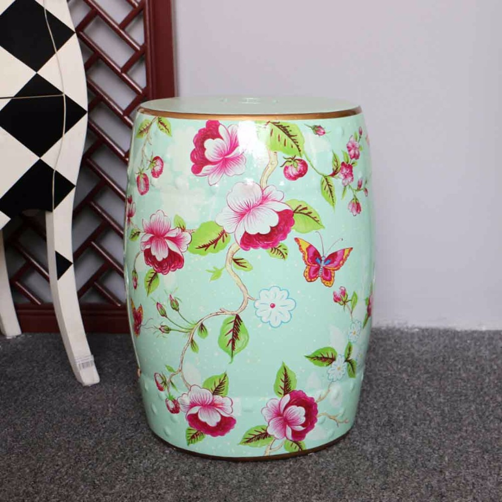 Home decoration green furniture ceramic garden Chinese stool