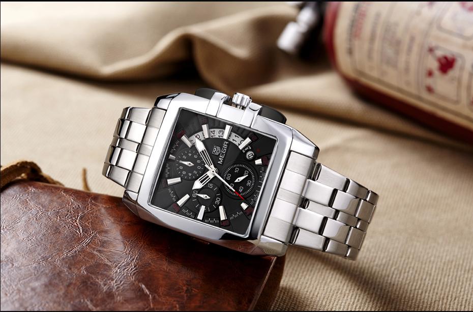 Topdudes.com - MEGIR Luxury Quartz Stainless Steel Strap Business Chronograph Watch