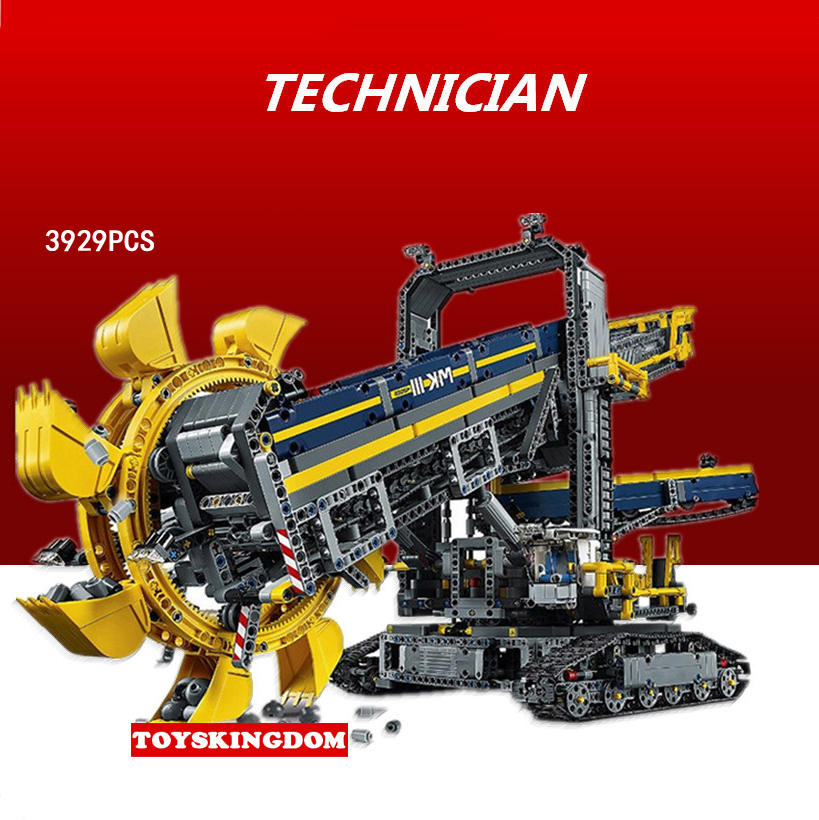 Hot technics technican Engineering vehicle bucket wheel excavator building block with motor truck bricks 42055 electric toys hot technician technics extreme adventure 2in1 building block remote control tracked vehicle rc cars bricks 42069 toys for kids