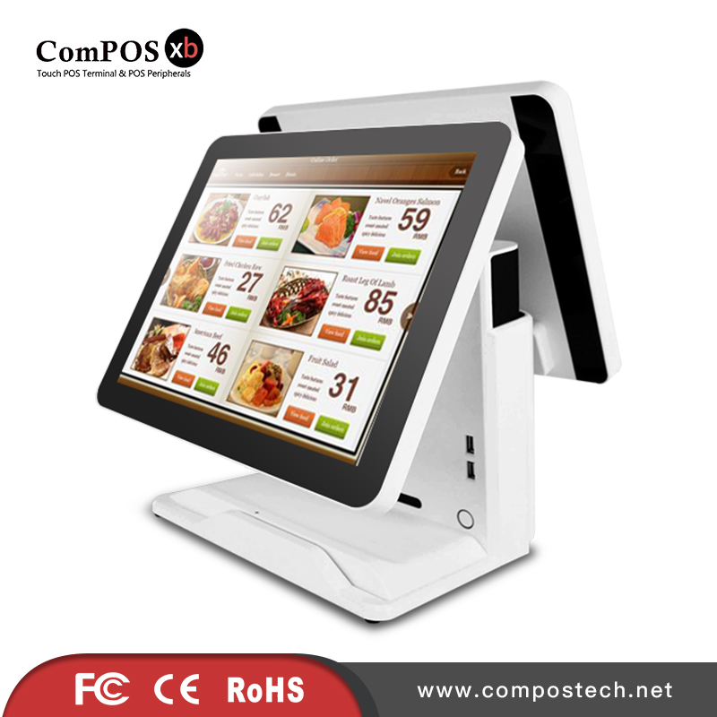 Newest 15 inch dual screen touch pos system/ touch pos machine/ cash register pc monitor POS1618DP cash register machine 15 inch tft led touch screen double monitor point of sale pos terminal for restaurant