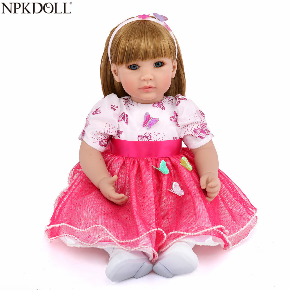 NPKDOLL 20 Inch Reborn Babies Silicone Dolls For Girls Long Hair Prinecess Dress Realistic Baby Reborn