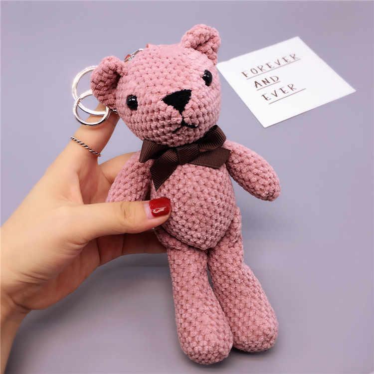 Handmade Criativo Abacaxi Chaveiro Urso Chaveiro Menina Alça de Mão Urso Boneca Bolsa Pingente corrente Chave Bonito Dos Desenhos Animados Para Os Homens 2019