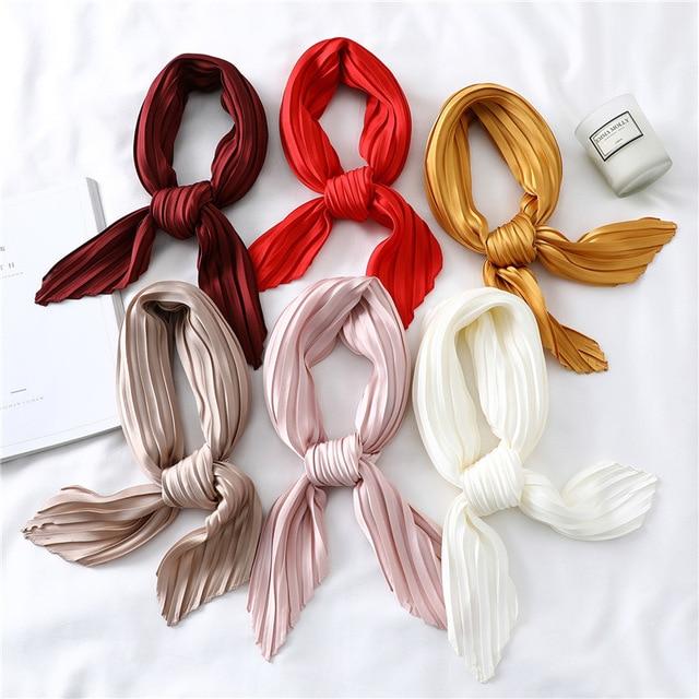 Fashion Women Silk Pleated Scarf Luxury Solid Neck Scarfs Foulard Femme Crinkle Hair Band Scarves Girl Neckerchief 2020 New