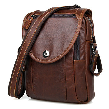 Crossbody Bag For Men Messenger Bags Cow Leather Brown Business Travel Small Mini Vintage Brand Casual Flap Shoulder Bags Male