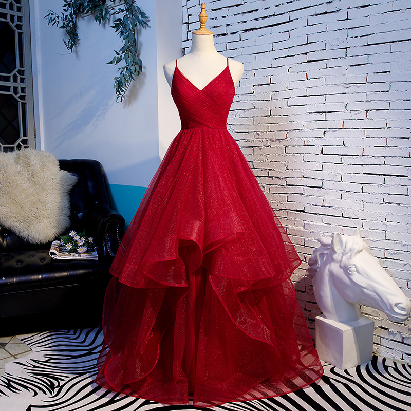 Do Dower Red Spaghetti Strap V Neck Evening Dresses Fashion Slim Long Ball Gown Party Prom Dress Toast Clothing Robe De Soiree L