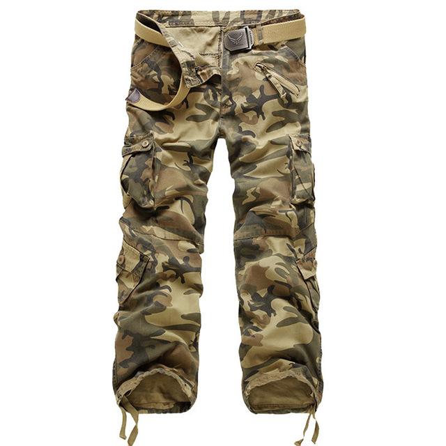 Pantalones tácticos de Los Hombres 100% algodón de Longitud Completa multi-bolsillo del ejército militar