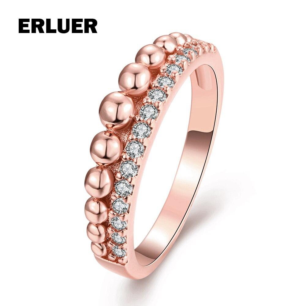 Aktiv Frauen Ring Rose Gold Silber Farbe Cz Zirkon Kristall Modeschmuck Engagement Hochzeit Vertraglich Stil Ringe Für Mädchen Geschenk Hell In Farbe