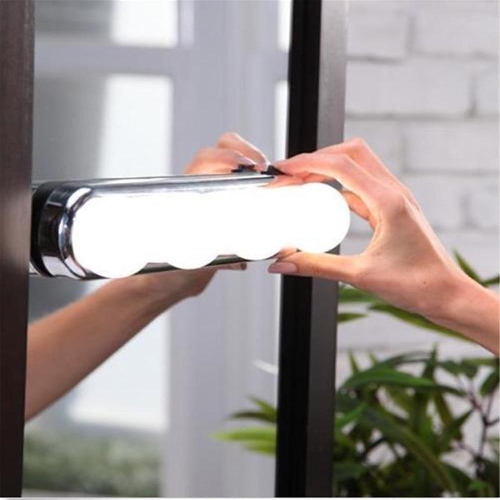 Vanity Mirror Super Bright 4 LED Bulbs With Box Portable Light Makeup Mirror New LED Mirror Headlamp Anti Fogging
