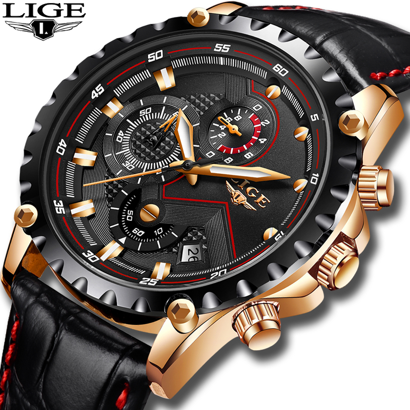 2019LIGE Fashion Mens Watches Top Brand Luxury Leather Watch Men Military Sport Waterproof Analog Quartz Clock